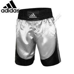 Шорти боксерські Adidas професійні Multi (ADISMB03, серебро з чорними вставками)