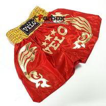 Шорты для тайского бокса VELO (ULI-9200-R, красные с золотом)