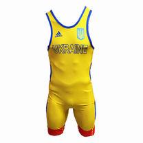 Трико для вольной борьбы Adidas с аккредитацией UWW (1633-rv2, желто-красное)