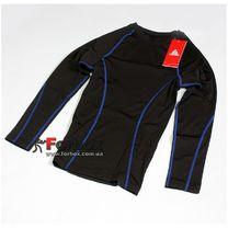 Компрессионная футболка подростковая с длинным рукавом Lidong (LD-1001T-B, черно-синяя)