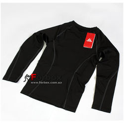 Компрессионная футболка подростковая с длинным рукавом Lidong (LD-1001T-BK, черно-серая)
