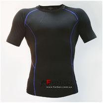 Компрессионная футболка с коротким рукавом (LD-1102, черно-синий)
