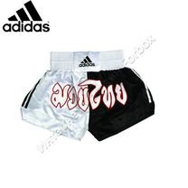 Шорти для муай тай Adidas Half-Half (ADISTH01, чорно-білі)
