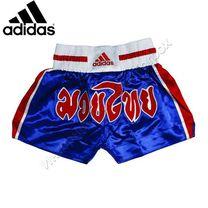Шорты для тайского бокса Adidas атласные (ADISTH02, синие)