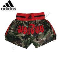 Шорты для тайского бокса Adidas Camouflage (ADISKC01, красно-зеленые)