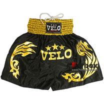 Шорты для тайского бокса VELO (ULI-9200, черно-желтые)