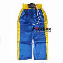 Штаны для кикбоксинга детские Kickboxing Matsa (MA-6732, желто-синий)