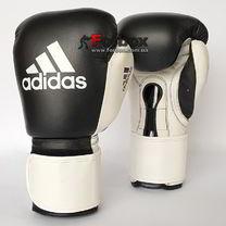 Боксерские профессиональные перчатки Glory Adidas на липучке (ADIBCM06, черно-белые)