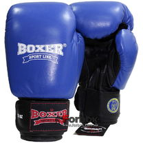 Боксерские перчатки Boxer Profi с печатью ФБУ кожа (2001-01С, синие)