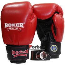 Боксерские перчатки Boxer Profi с печатью ФБУ кожа (2001-01K, красные)
