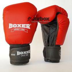 Боксерские перчатки Boxer кожзам (2024-03К, красные)