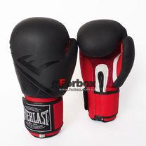 Перчатки боксерские Everlast кожаные MATT (MA-0704-BKR, черно-красные)
