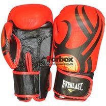 Перчатки кожаные боксерские на липучке Everlast (BO-6162-BK, красно-черные)