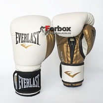 Боксерские перчатки Everlast PowerLock из PU (P00000722, бело-золотой)