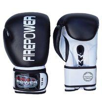 Боксерские перчатки FirePower на шнурках и липучке (FPBG10-BK, черно-белые)