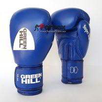 Боксерские перчатки Super Star Green Hill с аккредитацией AIBA (BGS-1213a, синие)