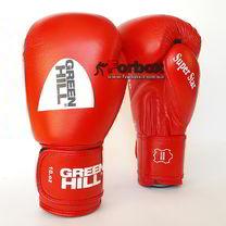 Боксерские перчатки Super Star Green Hill с аккредитацией AIBA (BGS-1213a, красные)