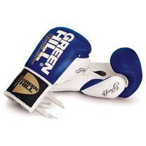 Перчатки для профессионалов на шнурках Green Hill Proffi (BGP-2014-BLWH, сине-белые)