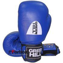 Боксерские перчатки Green Hill Knock с печатью ФБУ кожа (KBK-2105, синие)
