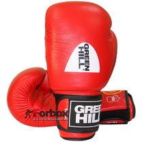 Боксерские перчатки Green Hill Knock с печатью ФБУ кожа (KBK-2105, красные)