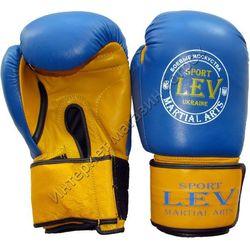 Боксерские перчатки VIP кожа Lev (1303-blyl, сине-желтые)