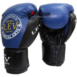Боксерские перчатки VIP кожа Lev (1303-blbk, сине-черные)
