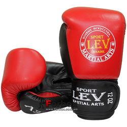 Боксерские перчатки VIP кожа Lev (1303-rdbk, красно-черные)