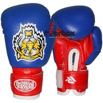 Детские боксерские перчатки REYVEL Тигр (YBGRT, сине-красные)