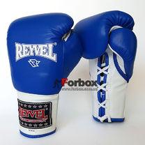 Профессиональные боксерские перчатки REYVEL Pro на шнуровке (0048-bl, синие)