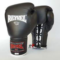 Профессиональные боксерские перчатки REYVEL Pro на шнуровке (0048-bk, черные)