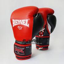 Профессиональные боксерские перчатки REYVEL Pro на шнурках и липучке (0058-rd, красные)