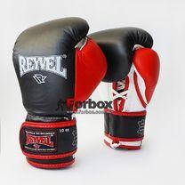 Профессиональные боксерские перчатки REYVEL Pro на шнурках и липучке (0058-bk, красно-черные)