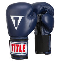 Боксерские перчатки TITLE Classic Leather Elastic Training Gloves (CTSGV-BL, Синие)