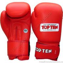 Боксерские перчатки Top Ten с лицензией AIBA (2010, красные)