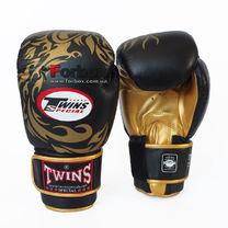 Боксерские перчатки Twins Dragon кожаные (repl-0270, черно-золотые)
