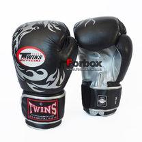 Боксерские перчатки Twins Dragon кожаные (repl-0270, черно-серый)