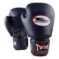 Перчатки для бокса Twins кожаные (BGVL3-N, Темно-синий)