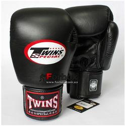 Боксерские перчатки Twins из натуральной кожи (BGVL-3-BK, черные)