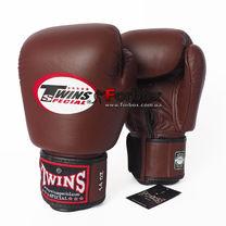 Перчатки для бокса Twins кожаные (BGVL3-DBR, Коричневый)