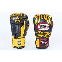 Боксерские перчатки Twins из натуральной кожи (FBGV-31-BK, черно-желтые)