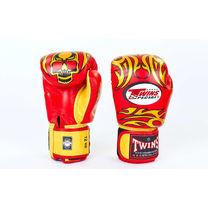 Боксерские перчатки Twins из натуральной кожи (FBGV-31-RD, красно-желтый)
