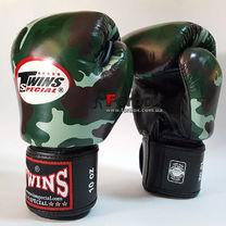 Боксерські рукавиці Twins із натуральної шкіри (FBGV-JG, зелений камуфляж)
