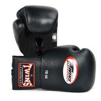 Перчатки для бокса Twins на шнурках (BGLL-1, черные)