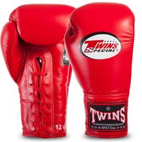 Боксерские перчатки Twins на шнурках нат. кожа (BGLL1-RD, Красный)