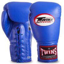 Боксерские перчатки Twins на шнурках нат. кожа (BGLL1-BU, Синий)