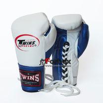Боксерские перчатки Twins кожаные на шнуровке (BO-0279-BL, бело-синий)