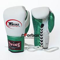 Боксерские перчатки Twins кожаные на шнуровке (BO-0279-M, бело-зеленый)