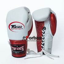 Боксерские перчатки Twins кожаные на шнуровке (BO-0279-R, бело-красный)