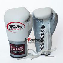 Боксерские перчатки Twins кожаные на шнуровке (BO-0279-S, бело-серый)