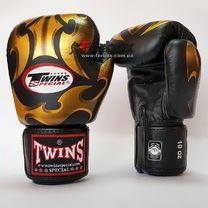Боксерські рукавички Twins з натуральної шкіри (FBGV-22G, чорно-золоті)